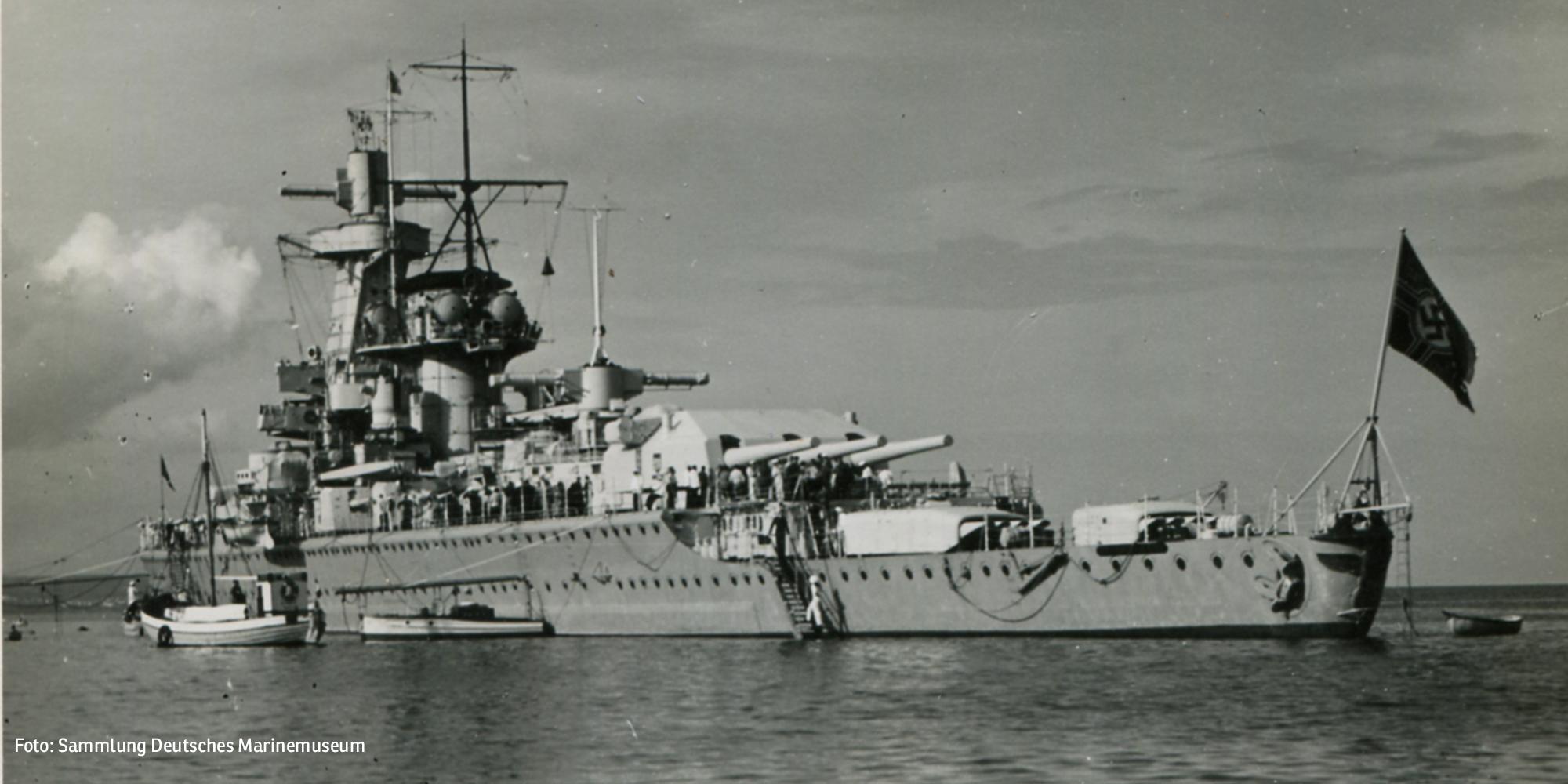 Panzerschiff Admiral Graf Spee, 1939 vor Rügen (Foto: Sammlung Deutsches Marinemuseum)